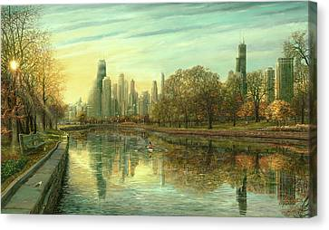 Hancock Building Canvas Print - Autumn Serenity by Doug Kreuger