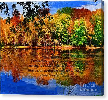 Canvas Print featuring the painting Autumn Serenity Philanthropy Painted by Diane E Berry