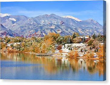 Canvas Print featuring the photograph Autumn Snow At The Lake by Diane Alexander