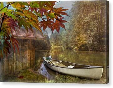 Canoe Canvas Print - Autumn Souvenirs by Debra and Dave Vanderlaan