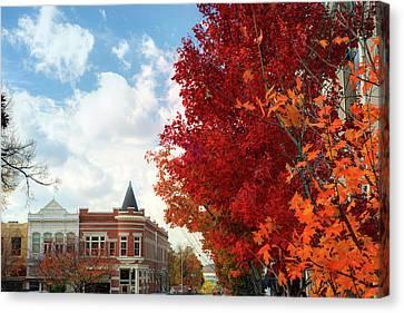 University Of Arkansas Canvas Print - Autumn Splendor Along The Downtown Fayetteville Arkansas Skyline  by Gregory Ballos