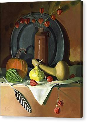 Canvas Print featuring the painting Autumn Still Life by Nancy Griswold