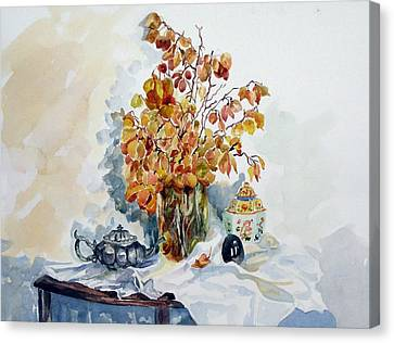 Canvas Print featuring the painting Autumn Still Life by Pat Crowther