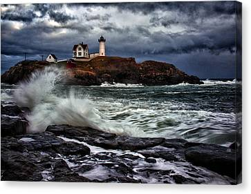 Crashing Canvas Print - Autumn Storm At Cape Neddick by Rick Berk