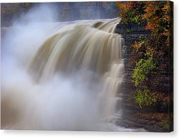 Autumn Storm At The Upper Falls Canvas Print by Rick Berk