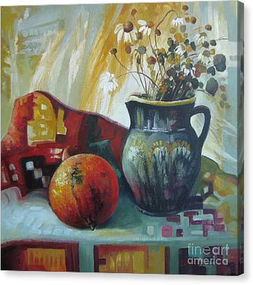 Canvas Print featuring the painting Autumn Story by Elena Oleniuc