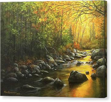 Canvas Print featuring the painting Autumn Stream by Kim Lockman