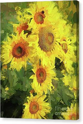 Autumn Sunflowers Canvas Print by Tina LeCour