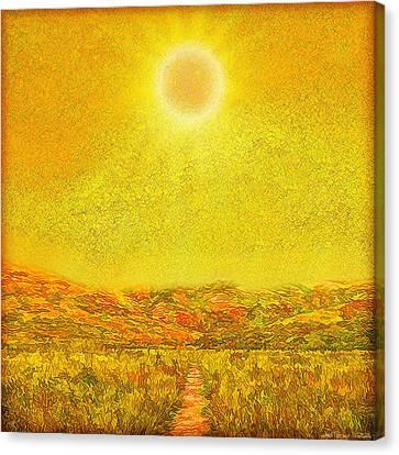 Canvas Print featuring the digital art Golden Sunlit Path - Marin California by Joel Bruce Wallach