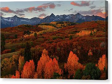 Canvas Print featuring the photograph Autumn Sunrise At Dallas Divide In Colorado by Jetson Nguyen