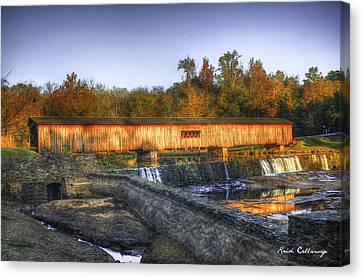 Grist Mill Canvas Print - Autumn Sunrise Glow Watson Mill Covered Bridge by Reid Callaway