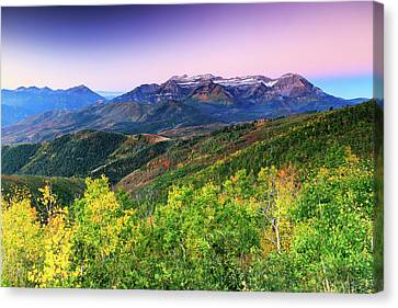 Canvas Print featuring the photograph Autumn Sunrise In The Utah Mountains. by Johnny Adolphson