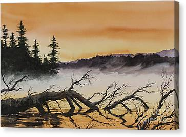 Canvas Print featuring the painting Autumn Sunset Mist by James Williamson