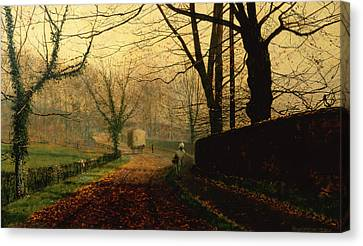 John Atkinson Grimshaw Canvas Print featuring the painting Autumn Sunshine Stapleton Parknear Pontefract  by John Atkinson Grimshaw