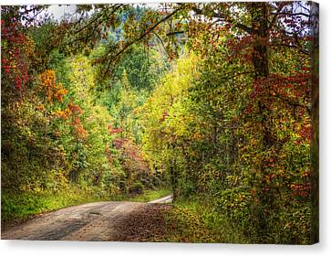 Smokey Mountain Drive Canvas Print - Autumn Tour by Debra and Dave Vanderlaan