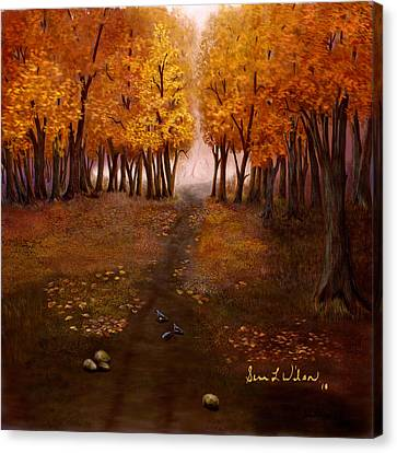 Canvas Print featuring the painting Autumn Trail by Sena Wilson