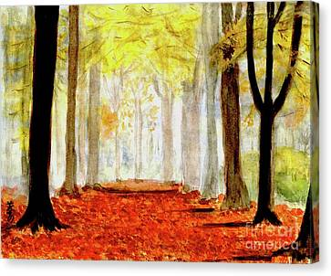 Canvas Print featuring the painting Autumn Trail by Yoshiko Mishina