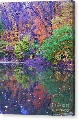 Autumn Trees And Pond Reflections  Vertical Image   Indiana Canvas Print