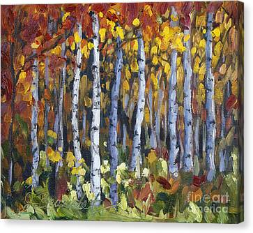 Canvas Print featuring the painting Autumn Trees by Jennifer Beaudet
