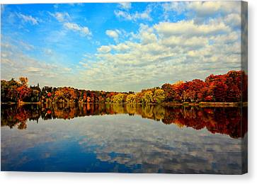 Y120907 Canvas Print - Autumn Trees Reflection by This image is Copy