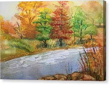 Autumn Trees Canvas Print by Remegio Onia