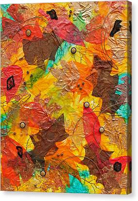 Autumn Leaves Underfoot Canvas Print by Michele Myers
