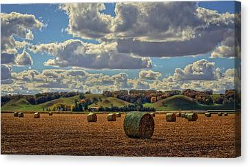 Autumn Valley Bales Canvas Print by Bruce Morrison