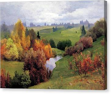 Reds Of Autumn Canvas Print - Autumn Valley Of Dreams by Georgiana Romanovna