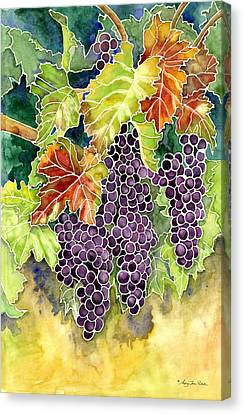 Purple Grapes Canvas Print - Autumn Vineyard In Its Glory - Batik Style by Audrey Jeanne Roberts