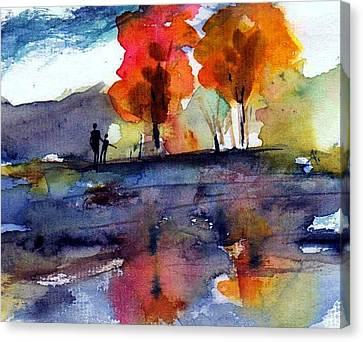 Autumn Walk Canvas Print by Anne Duke