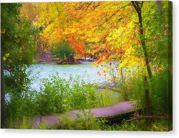 Canvas Print featuring the mixed media Autumn Walk by Joel Witmeyer