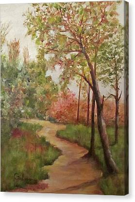 Canvas Print featuring the painting Autumn Walk by Roseann Gilmore