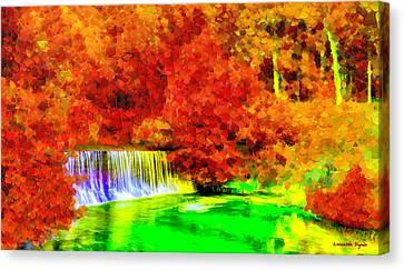 Autumn Waterfall - Da Canvas Print by Leonardo Digenio