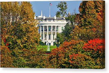 Canvas Print featuring the photograph Autumn White House by Mitch Cat