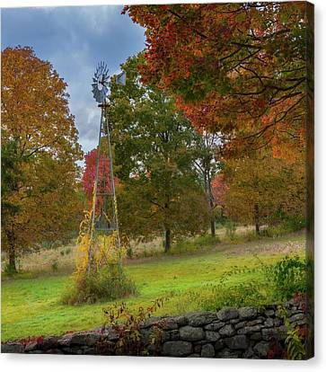 Canvas Print featuring the photograph Autumn Windmill Square by Bill Wakeley