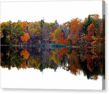 Autumn With Colorful Foliage And Water Reflection 3 Canvas Print by Lanjee Chee