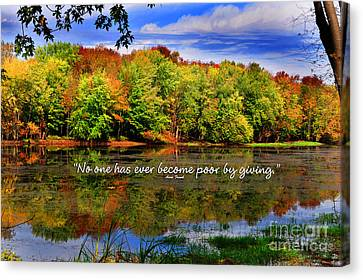 Autumn Wonders Giving Canvas Print by Diane E Berry
