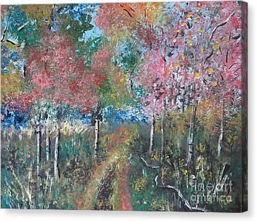 Autumn Woodland Canvas Print by Judy Via-Wolff