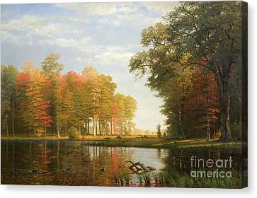 Autumn Woods Canvas Print by Albert Bierstadt