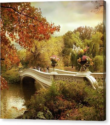 Autumn's Arrival At Bow Bridge Canvas Print