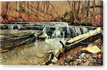 Autumns Arrival At Muscatatuck Falls  Canvas Print