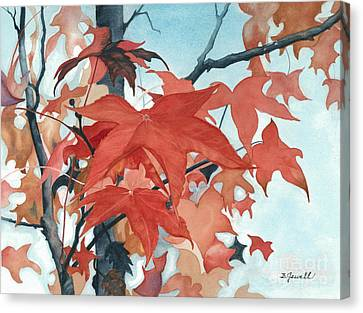 Canvas Print featuring the painting Autumn's Artistry by Barbara Jewell