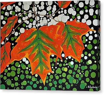 Canvas Print featuring the painting Autumns Kiss by Kathleen Sartoris