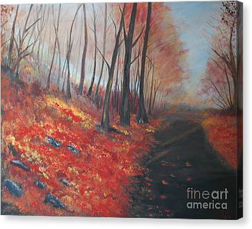 Canvas Print featuring the painting Autumns Pathway by Leslie Allen