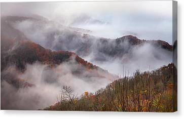 Autumn's Smokey Mountain Mist Canvas Print by Karen Wiles