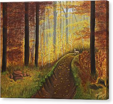 Autumn's Wooded Riverbed Canvas Print by Christie Nicklay