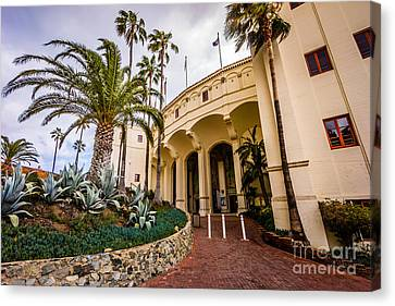 Avalon Casino Entrance On Catalina Island Canvas Print by Paul Velgos