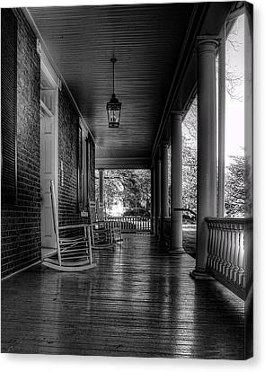 Avenel Front Porch - Bw Canvas Print by Steve Hurt