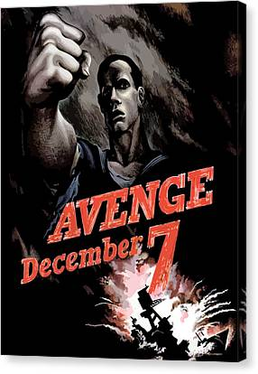 Navy Canvas Print - Avenge December 7th by War Is Hell Store