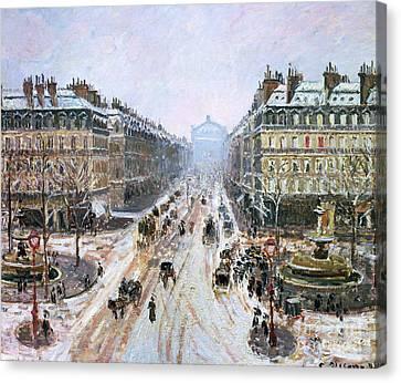 Avenue De L'opera - Effect Of Snow Canvas Print by Camille Pissarro